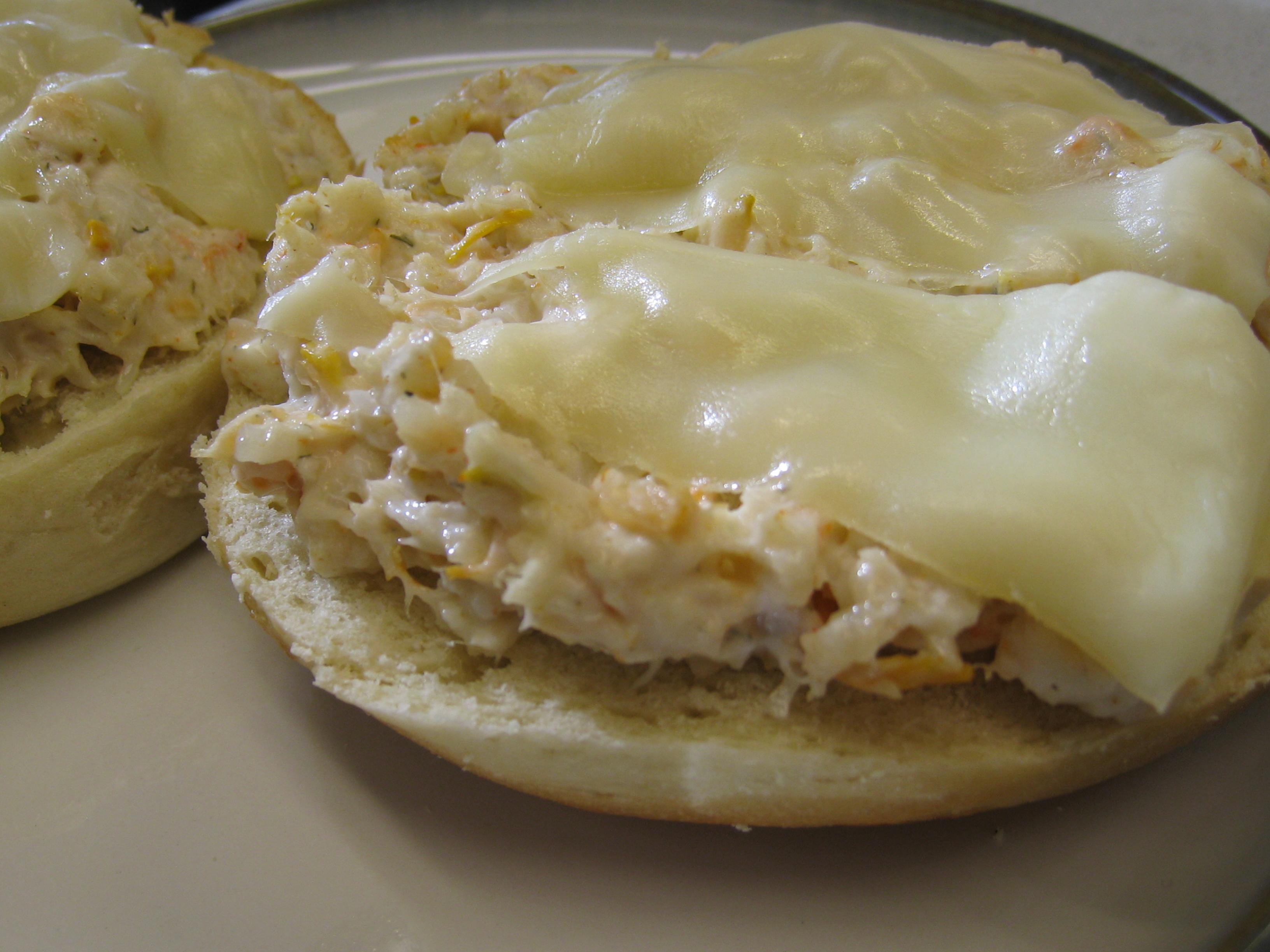 food punk » The Sandwich Series: Shrimp salad melt bagel