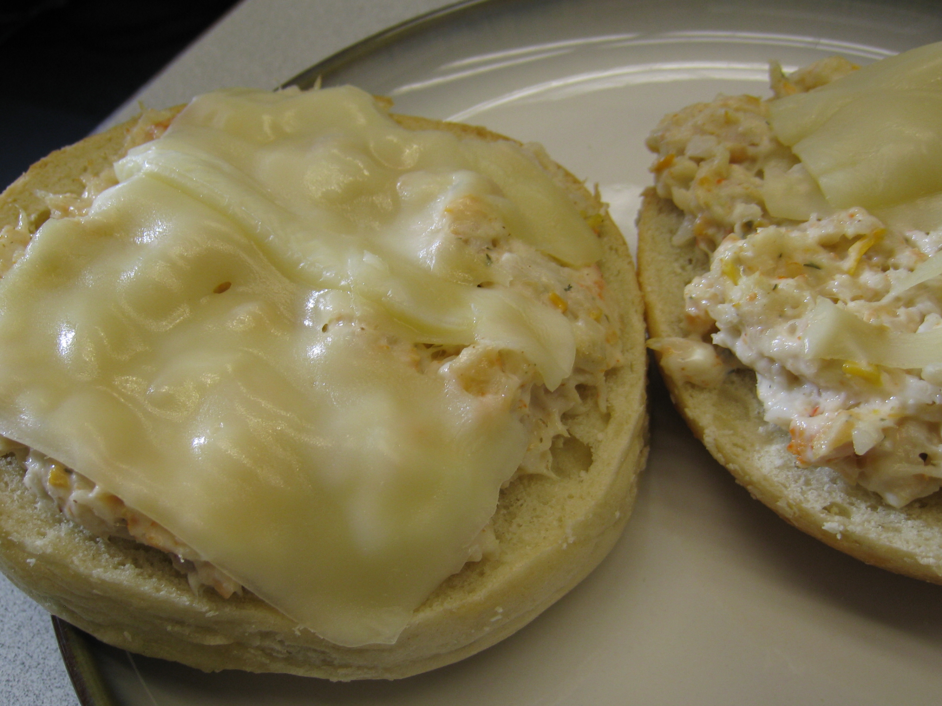 food punk » The Sandwich Series: Shrimp salad melt bagel